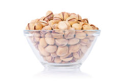 Pistachio nuts. Close up view of phistachio nuts on a white background Stock Photos
