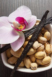 Pistachio nuts, blooming orchid and fragrant vanilla sticks, cosmetic ingredients Stock Images