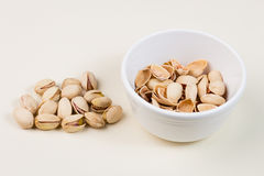 Pistachio Nuts and Empty Shells in Bowl Stock Images