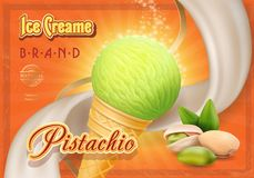 Pistachio nuts ice cream in waffle cone advertising design poster.  Royalty Free Stock Images