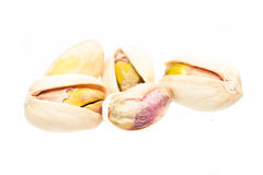 Pistachio nuts isolated on white background Stock Photos