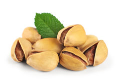 Pistachio nuts. Isolated on a white background stock photography