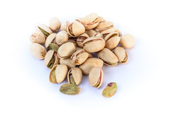 Pistachio nuts. Isolated on a white background Stock Photos