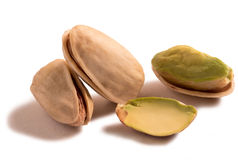 Pistachio nuts isolated on white background. Stock Photo