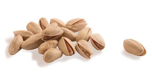 Pistachio nuts isolated on white background. Royalty Free Stock Images