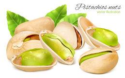 Pistachio nuts with leaves. Stock Photo