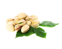 Pistachio nuts with leaves Royalty Free Stock Image