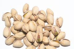 Pistachio Nuts Pile On White Background Stock Photography