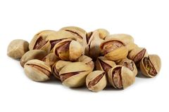Pistachio nuts and salt isolated o Royalty Free Stock Photos