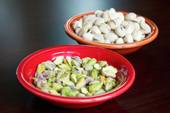 Pistachio Nuts Shelled and Unshelled Stock Photos