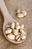 Pistachio Nuts On Wooden Spoon Royalty Free Stock Photo