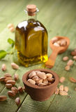Pistachio oil in the bottle Royalty Free Stock Photo