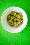 Pistachio paste. Home made pistachio paste in ceramic bowl Royalty Free Stock Photography
