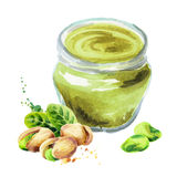 Pistachio paste. Watercolor hand drawn illustration. Pistachio paste. Watercolor. Hand-drawn illustration Stock Images