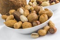 Pistachio, peanuts, almonds, hazelnuts, walnuts, brazil nuts, on Stock Photography