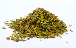 Pistachio slices at white Royalty Free Stock Photography