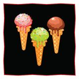 Pistachio, strawberry and chocolate ice cream. Dessert on a black background for the menu of the restaurant and cafe. Icon of food. On a white background Royalty Free Stock Photo