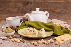 Pistachio truffles. stock photos