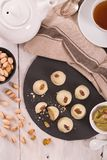 Pistachio truffles. Pistachio truffles on wooden table stock photography