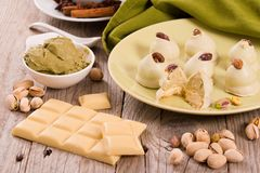 Pistachio truffles. stock images