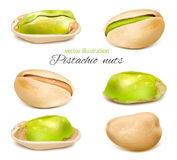 Pistachio. Whole nuts and  kernels. Collection. Vector illustration Royalty Free Stock Photography