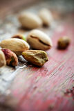 Pistachios. Bunch of pistachios with very selective focus royalty free stock photos