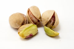 Pistachios. With white background from close Royalty Free Stock Photo