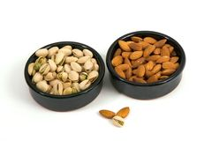 Pistachios and almonds Royalty Free Stock Photo