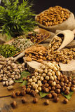 Pistachios,almonds,walnuts and hazelnuts stillife Stock Image