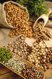 Pistachios,almonds,walnuts and hazelnuts stillife Royalty Free Stock Photo