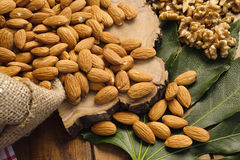 Pistachios,almonds,walnuts and hazelnuts stillife Royalty Free Stock Images