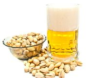 Free Pistachios And Mug Of Beer Closeup Royalty Free Stock Photography - 49739157