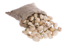 Pistachios in a Bag (on white) Stock Images