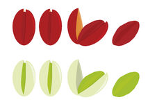 Pistachios isolated. Naturally shaded and red dyed pistachios isolated on a white background stock illustration