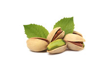 Pistachios and leafs Royalty Free Stock Photo
