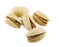 Pistachios macro. Tasty pistachios on a white background. Close-up Royalty Free Stock Images