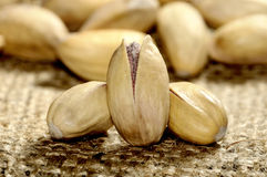 Pistachios nut. Fresh and natural on linen fabric stock photo