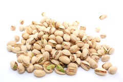 Pistachios nuts. Isolated on white royalty free stock photo