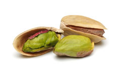 Pistachios nuts. Group on white background royalty free stock photography