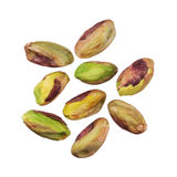 Pistachios nuts without shells isolated on white background, clo Stock Photo