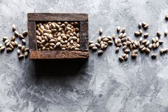 Pistachios nuts in wooden box. Top view Stock Photography