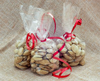Pistachios packed in mini bags Stock Photography