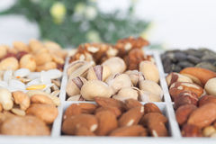 Pistachios, peanuts, walnuts, almonds, hazelnuts, Brazil nuts, pumpkin seed and cashews, closeup Royalty Free Stock Photos
