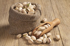 Pistachios in sack Royalty Free Stock Images