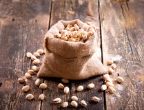 Pistachios in a sack Stock Photography