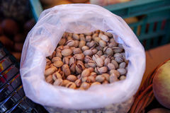 Pistachios. In shell sold at the market Royalty Free Stock Images