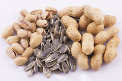 Pistachios, sunflower seeds and peanuts Royalty Free Stock Photos