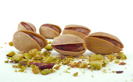Pistachios on white background Royalty Free Stock Photos