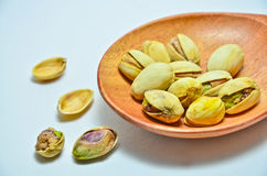 Pistachios with white background Stock Photo