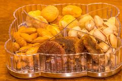 Pistachiou dry fruits and nuts. Dry fruits and nuts in a case selling in a shop Stock Photo
